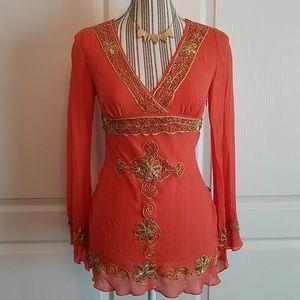 BEBE Embroidered Orange & Gold Boho Silk Blouse XS